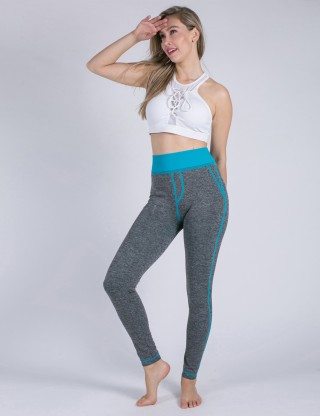Simply Chic Sky Blue Booty Lifting Leggings Fake Pockets