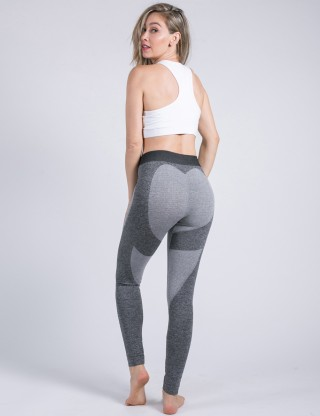 Breathable High Waist Dark Grey Heart Yoga Legging Butt Lift