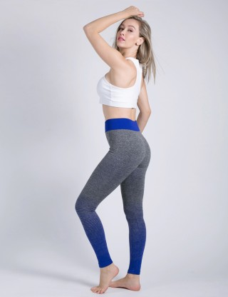 Airy Sapphire Blue Soft High Rise Tights With Ankle-Length