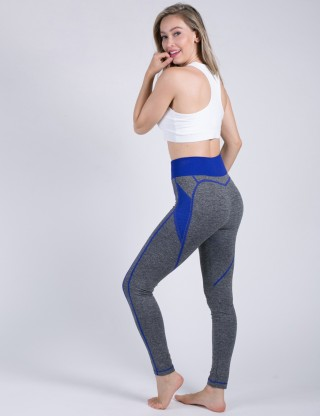 Sapphire Blue Heart-Shaped Sport Tights Color Block Activewear