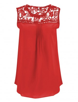 Sleek Red Sleeveless Lace Shirts Plus Size Wholesale Online
