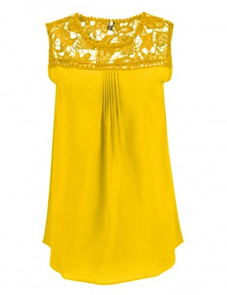 Invigorative Yellow Lace Plus Top Chiffon No Sleeve Women Outfits