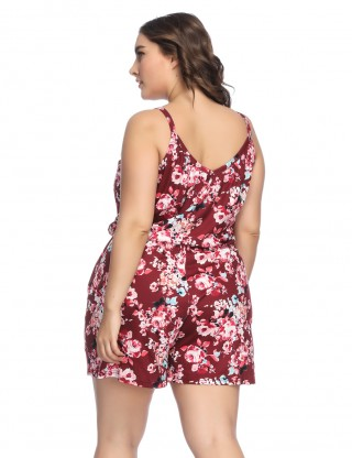 Absorbing Wine Red Queen Size Jumpsuit Flower Print Leisure Wear