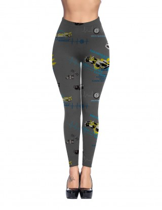 Gorgeous Grey Mid Rise Brushed Leggings Car Print Delightful Garment