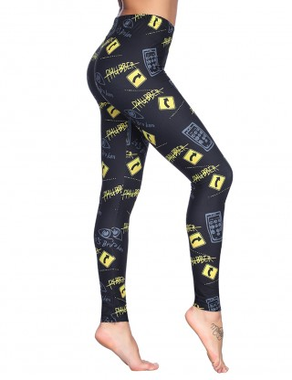 Letter Pattern Hot Selling Black Brushed Leggings Middle Waist