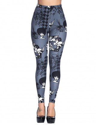 Perfectly Grey Graffiti Print Brushd Legging Ankle Length For Upscale