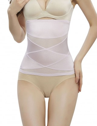Light Pink Crossover Waist Cincher 2 Steel Bones Meticulous Design