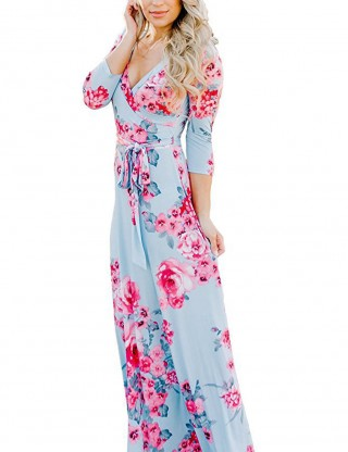 Exotic Light Blue Floral Pattern Maxi Dresses Waist Tie Fashion Shop Online