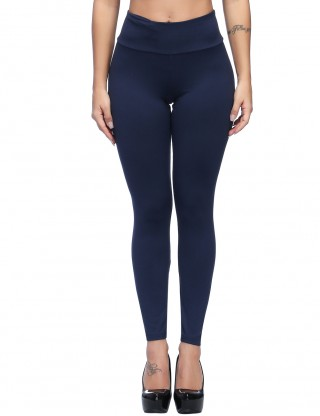 Simple Dark Blue Solid Color Brushed Legging Ankle Length Form Fitting