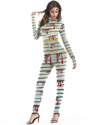 Inviting Dropping Blood Pattern Costume Halloween Cosplay Snug Fit