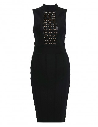 Ultra Sexy Black High Neck Gold Rings Bodycon Fashion Dresses