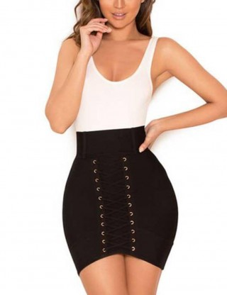 Ultra Sexy Smooth Black Lace Up Short Skirts Plain Women Outfits
