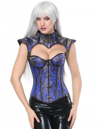 Sleek Smoothers Blue  Cap Sleeve Plastic Boned Overbust Corset Close Fitting