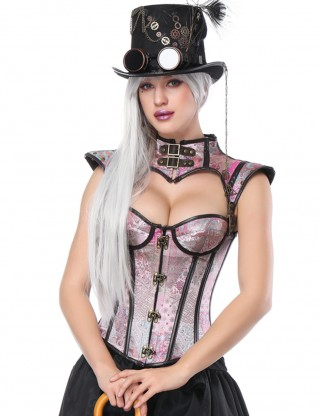 Close Fitting Light Pink 16 Plastic Bones Overbust Corset Jacquard