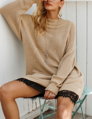 Fascinating Brown Lace Stitching Sweater Dress Round Neck