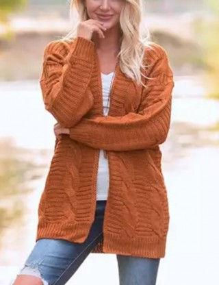 Modern Khaki Long Sleeved Knitting Big Size Cardigans For Hiking