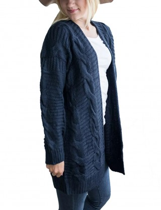 Invigorative Navy Blue Plus Size Sweater Cardigan Solid Color Outfits