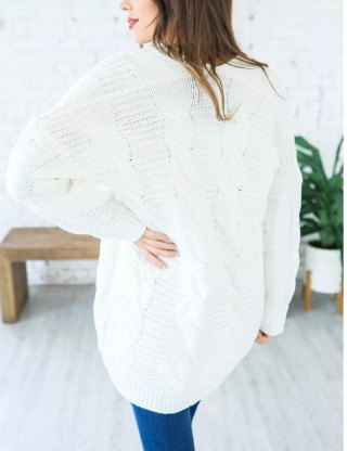 Modest White Knitted Big Size Full-Sleeve Cardigans Glamorous Look