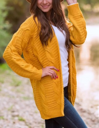 Cheeky Yellow Knitted Cardigans Loose Fit Queen Size Ladies