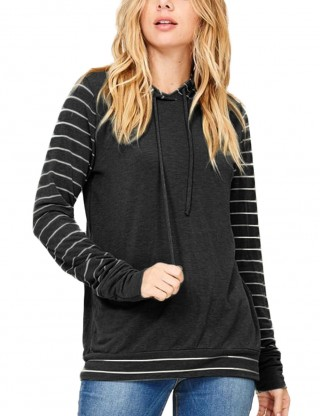 Wonderful Black Long Sleeves Hoodies Patchwork Pullovers