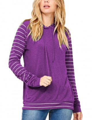 Explicitly Chosen Purple Long Sleeved Striped Pullover Hoodies