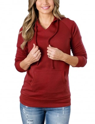 Funny V Collar Red Long Sleeved Hoodies Plain Fashion Shopping
