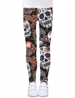 Creative Orange Kids Floral Skull Brushed Tights Girls Fashion
