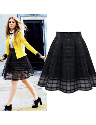 Fetching Black Hollow Out Pleated Gauze Plaid Skirt Sheath