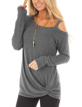 Refreshing Light Grey Asymmetrical Hem Sweatshirt Solid Color Comfort