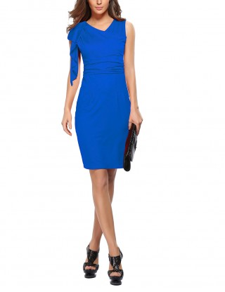 Sapphire Blue Adorable Big High Rise Tight Dress Mini Length Sensual Curves