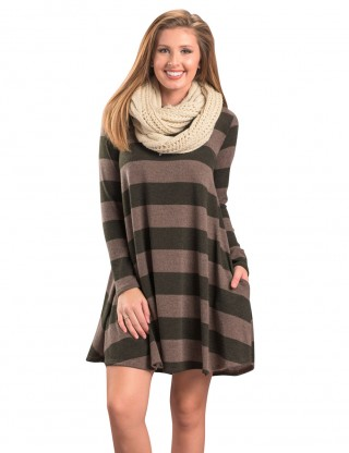 Alluring Long Sleeves Mini Dress Wide Stripes Form Fitting