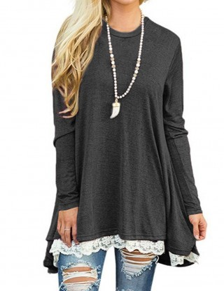 Delicate Gray Lace Hemline Tops Long-Sleeved Ladies