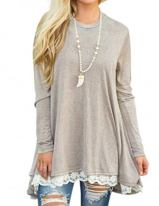 Homelike Light Gray Asymmetric Lace Hem Sweatshirt Round Neck