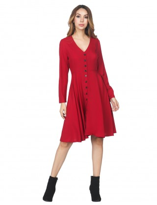 Irresistible Red Front Buttons Swing Dress V Collar For Women Online