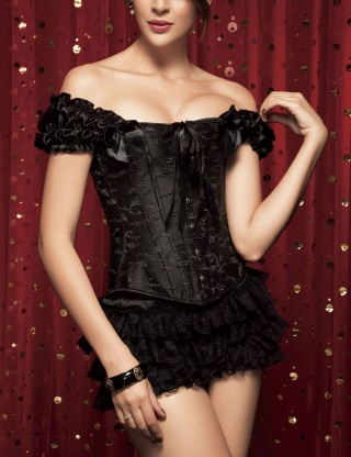 Romantic Ruched Black 12 Steel Boned Bow Corset Overbust Slim