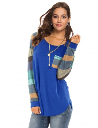 Captivating Blue Splice Irregular Sweatshirt Banded Cuffs Preventing Sweat