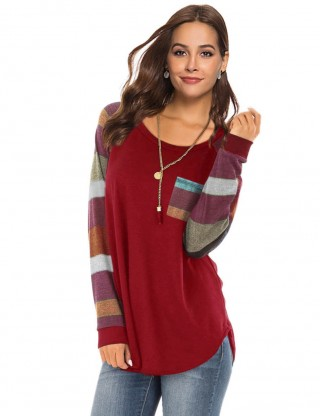 Refreshing Wine Red Long Striped Sleeves Sweatshirt Patchwork Comfort