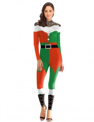 Liberty Ankle Length Christmas Costume Crew Neck Zip Elasticity