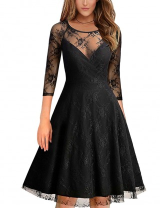 Causal Black Flower Lace Skater Dress 1/2 Sleeves Hollow Out Visual Effect