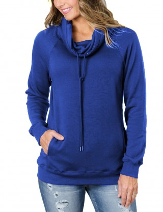 Refreshing Sapphire Blue Full Sleeved Pullovers Tops With Drawstring Comfort