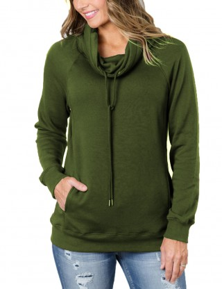 Captivating Army Green High Collar Sweatshirt Drawstring Pockets