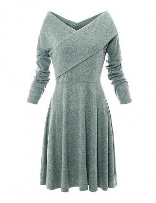 Cheeky Green Wrapped A-Line Dress Ruched Full Sleeves Breathable