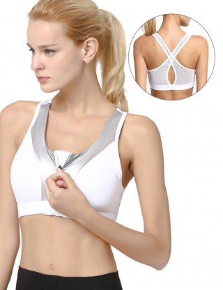 Stretchable White Removable Pad Athletic Bra Mesh Splicing Women's Apparel