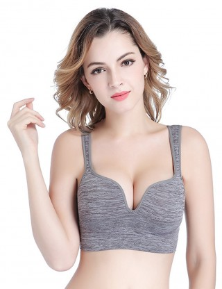 Mystic Grey Support Push Up Padded Sport Bra Outdoor