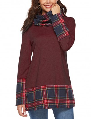 Exceptional Wine Red High Collar Sweatshirts Full-Sleeved For Beauty