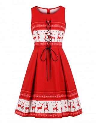 Slip Red Queen Size Christmas Midi Dress Lace-Up Zipper On-Trend Fashion