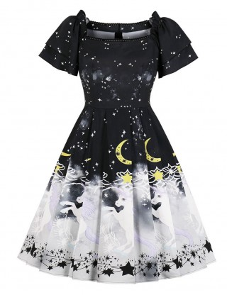 Delicate Black Zipper Ruched Skater Dress Unicon Print For Holiday