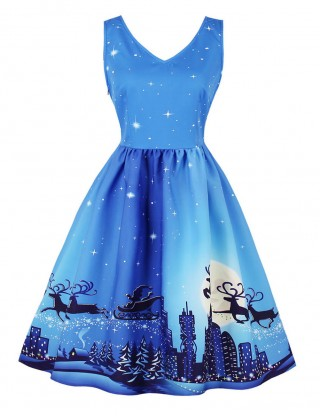 Dreamy Blue Large Size Ruched Christmas Skater Dress Post Surgery