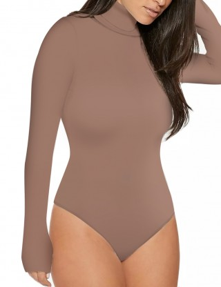 Striking Beige Turtle Neck Bodysuit Invisible Button Ladies Elegance
