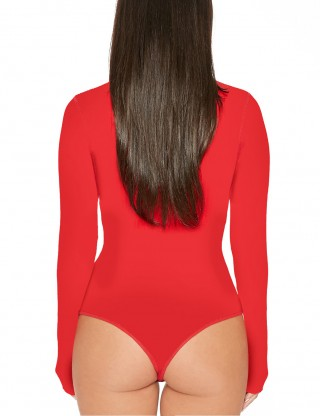 Shimmer Red Invisible Button Bodysuit Long Sleeves Form Fitting